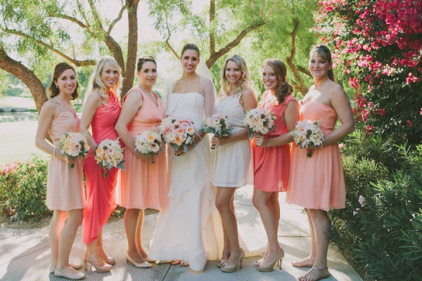 Shades of Coral Brdiesmaids Dresses,  Oh So Classy Events