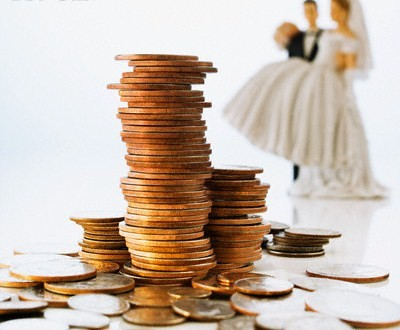 Stack of Coins and Bride and Groom Wedding Cake Decorations